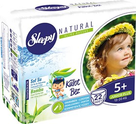 Sleepy Natural Külot Bebek Bezi 5+ Beden Junior Plus 13-20kg 22li